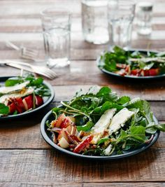 Arugula, Pear, and Blue Cheese Salad  Recipe (This arugula salad recipe teams peppery arugula, creamy blue cheese, crisp pears, crunchy walnuts, and a slightly sweet honey vinaigrette for a spectacular and simple fall salad. So lovely we've had guests try to lick the plate.)