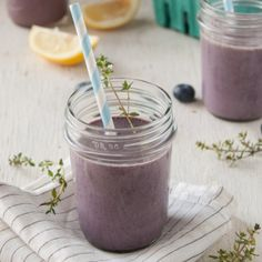 Lemon-Thyme Blueberry Smoothie. Vegan and farm fresh to boot.