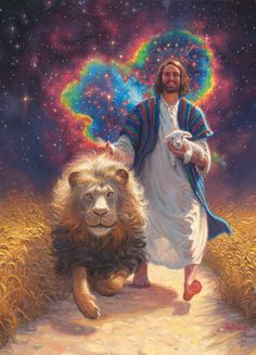 Jesus walking with symbolic lamb, Lion of Judah and heart of love prophetic art. Image Jesus, Jesus Christ Images, Religion, Lion And Lamb, Jesus Painting, Prophetic Art, Biblical Art, Jesus Pictures, Jesus Is Lord