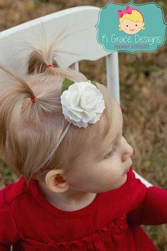 White Pom Flower Rosette Rose Wool Felt Headband by Dorki on Etsy