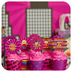 Cupcakes at a supergirl birthday party! See more party planning ideas at CatchMyParty.com!