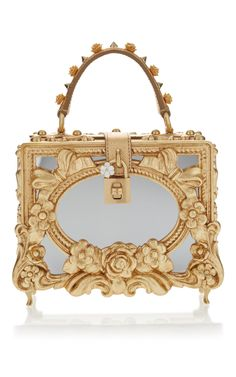 This   Dolce   Gabbana   box bag features a mirror finish and an  embellished top handle and an all over gold leaf design. 306d794c06