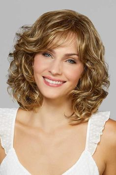 Broadway by Mane Attraction Wigs Curly Hair With Bangs, Haircuts For Curly Hair, Curly Hair Cuts, Short Curly Hair, Short Bob Hairstyles, Hairstyles With Bangs, Curly Hair Styles, Wedding Hairstyles, Black Hairstyle