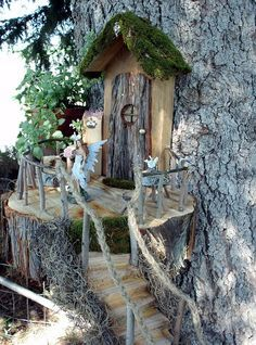 30 Magical Fairy Gardens I really like the rope railing, the front door and the porch roof