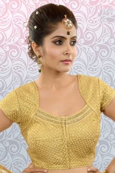 #Gold banarasi brocade #zari weaved ethereal #blouse with rounded #square neck-BL831