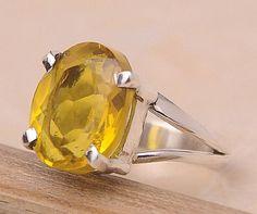Lemon Quartz .925 Sterling Silver Jewelry Ring Size 7