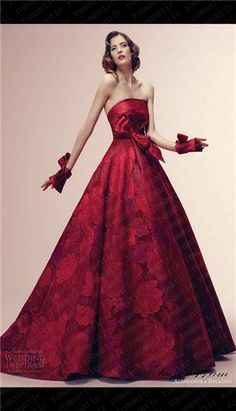 alessandra rinaudo bridal 2014 rubina red color wedding dress strapless floral print -simple and elegant. Wedding Dresses 2014, Colored Wedding Dresses, Dress Wedding, Floral Wedding, Elegant Dresses, Pretty Dresses, Mode Shop, Red Gowns, Strapless Gown