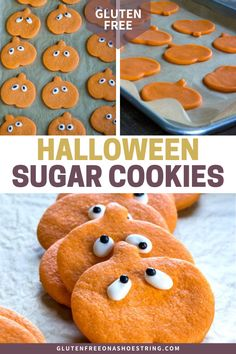 Bakery-style gluten free Halloween sugar cookies, made soft and tender, and shaped like sweet little pumpkins. Make your Halloween a spooky success! #GlutenFree #Cookies #Dessert #Halloween