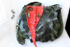 женская сумочка натуральная пулл-ап кожа крокодил ручная работа зеленый коралловый бабочки 4lapki / handbag genuine crocodile hide pull-up leather handmade green coral butterfly