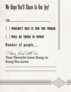 love the wording on the RSVP and love the song request Idea.