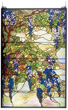 Tiffany Wisteria & Snowball Stained Glass Panel