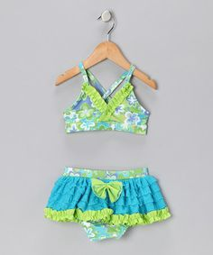 Love this Turquoise Cloud Skirted Bikini - Girls on #zulily! #zulilyfinds