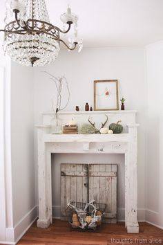 Thoughts from Alice: Fall Home Tour 2014 - Rustic and Simple Fall Mantel
