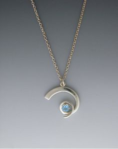 Hand Made Silver Pendant Small Loop with 5mm Blue by EMWmetalworks, $145.00