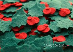 Felt Holly Holly Leaves with Berries Holly Leaf by PrettyDieCuts