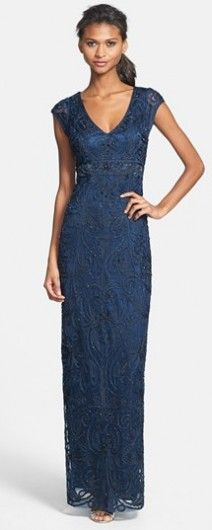 Classic Lace Column Fit Navy Dress - the Perfect Mothe of the Bride Gown