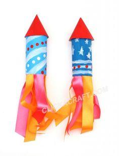 Cardboard Toilet Paper Roll Rockets for Fireworks Craft - 3 yas ustu aktivscik Vbs Crafts, July Crafts, Space Crafts, Summer Crafts, Preschool Crafts, Diy And Crafts, Arts And Crafts, Fireworks Craft For Kids, Diy For Kids
