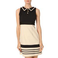 Yumi Navy/Cream Stripe Contrast Dress - BrandAlley flash sales