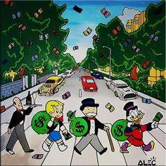Alec Monopoly Oil Painting on Canvas Abbey Road Beatles Abbey Road, The Beatles, Beatles Art, Cartoon Wallpaper, Graffiti Art For Sale, Pop Art, Dope Cartoon Art, Urban Art, Oil Painting On Canvas