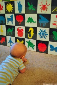 Gentle Revolution Homeschooling: Tutorial: How to Make a Picture Detail Checkerboard (Infant Visual Stimulation)