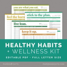 Healthy Habits & Wellness Kit — Paper + Oats — editable, printable, planner, organizer, fitness planning, exercise tracker, weight loss progress PDF, food diary, meal tracker, health log, wellness plan, workout planner, goal tracking PDF