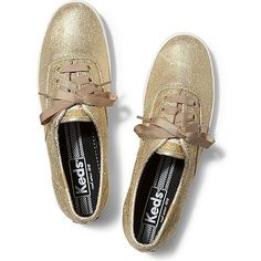 Keds Champion Metallic ($30) ❤ liked on Polyvore featuring shoes, sneakers, flats, zapatillas, gold metallic, lace up shoes, flat shoes, metallic flats, white lace up shoes and white flat shoes