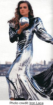 Puffed sleeved metallic silver dress by Prue Acton (photo credit: Iron Lace)