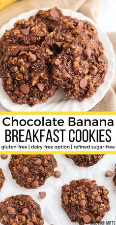 Healthy and simple Chocolate Banana Breakfast Cookies that are the perfect breakfast for kids and sweet lovers! Gluten-free, refined sugar-free with a dairy-free option, and filled with oats, walnuts, flax seed, banana, chocolate chips and a little honey. These breakfast cookies are soft like a muffin top, and will quickly become a family favorite!