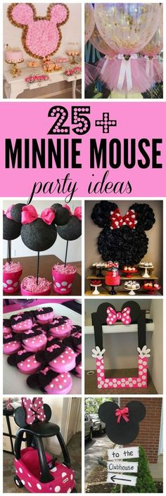Minnie Mouse Birthday Party Ideas - Pretty My PartyYou can find Minnie birthday and more on our website.Minnie Mouse Birthday Party Ideas - Pretty My Party Minnie Mouse Birthday Theme, Theme Mickey, Minnie Mouse Baby Shower, Mickey Party, Minnie Mouse Pinata, Minie Mouse Party, Minnie Mouse Balloons, Girl First Birthday, 2nd Birthday Parties