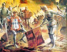 ALJUBARROTA 1385 - After victory King João of Portugal receives Castilian flag