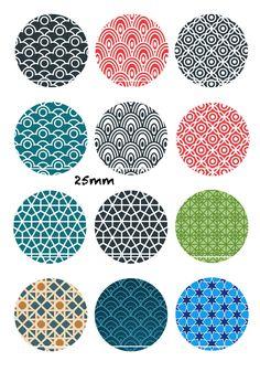 Motif oriental 12 Images/Dessins/collages/Scrapbooking digitales pour cabochon 30/25/20/18/16/15/14/12/10/8 mm Rond/Carré/Ovale