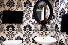 Osborne and Little paper transforms this powder room. Furniture, Room, Osborne And Little, Interior, Powder Room, Home Decor, Bathroom Mirror, Round Mirror Bathroom, Mirror