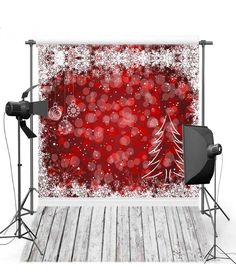 Best Red Bokeh Wall Snowflake Christmas Tree Wood Floor Backgrounds Vinyl cloth Computer printed party photo backdrop. Click visit to check price