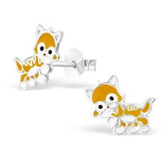 Children's Ginger Cat Real Sterling Silver Stud Earrings