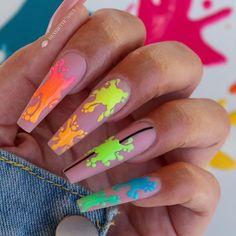 Teen Nail Art, Teen Nails, Bailarina Nails, Funky Nail Designs, Art Designs, Splatter Nails, Work Nails, Bridesmaids Nails, Formal Nails