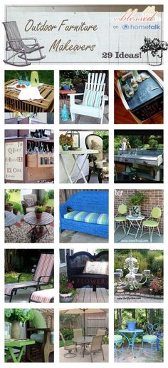30 Outdoor Furniture Makeovers ... benches, chairs, desks, tables & more ............. #DIY #bench #chair #desk #tables #outdoor #landscaping #curbappeal #furniture #decor #crafts