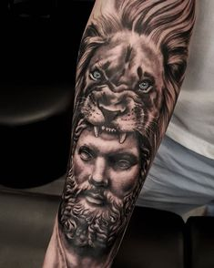 """STEPH 🌙 on Instagram: """"Loved doing this Hercules and the lion forearm piece for Sam's third session on his sleeve yesterday 🖤🖤"""" Hercules Tattoo, Sleeve Tattoos, Third, Lion, Portrait, Instagram, Ideas, Tattoo Sleeves, Leo"""