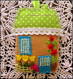 a little house made with felt and fabric