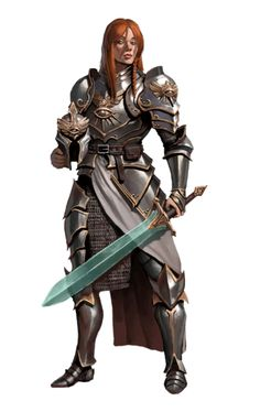 Female Paladin Knight - Pathfinder PFRPG DND D&D d20 fantasy
