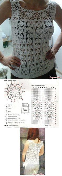 Fabulous Crochet a Little Black Crochet Dress Ideas. Georgeous Crochet a Little Black Crochet Dress Ideas. Débardeurs Au Crochet, Pull Crochet, Gilet Crochet, Mode Crochet, Crochet Tunic, Crochet Diagram, Crochet Woman, Crochet Clothes, Crochet Stitches