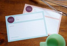 Sweet and savory recipe cards