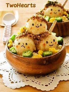 Food Photography: Kawaii Takoyaki Bento w/ corn kernels and okra // Rice, Lunch, Dinner