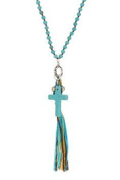 Tassel & Cross Beaded Necklace