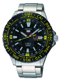 Seiko 5 sport gmt anniversary with airport arrival/departure board inspiration. Affordable Automatic Watches, Affordable Watches, Retro Watches, Watches For Men, Seiko 5 Watches, Solar Time, Betty Who, Watch Master, Seiko 5 Sports