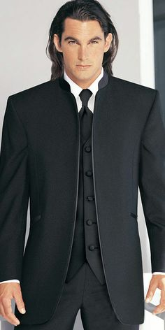 this in all black with gold tie