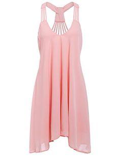 ROMWE Women's Summer time Alluring Sleeveless Strappy Swing Dress