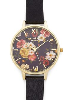 Olivia Burton Flowers Go By Watch by Olivia Burton - Black, Floral, Darling, Gold, Leather, 60s, Gals, Travel