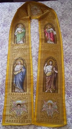 RARE ANTIQUE FRENCH RELIGIOUS FOR HUMERAL  19-CENTURY GOLD METALLIC  PERSONAGES