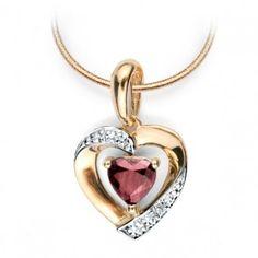 Złoty wisiorek serduszko z diamentem i rubinem - Biżuteria srebrna dla każdego tania w sklepie internetowym Silvea