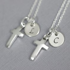 Personalized Cross Necklace, Sterling Silver Cross Necklace, Tiny Simple Cross Necklace with Initial Charm, Baptism Gift, Confirmation Gift